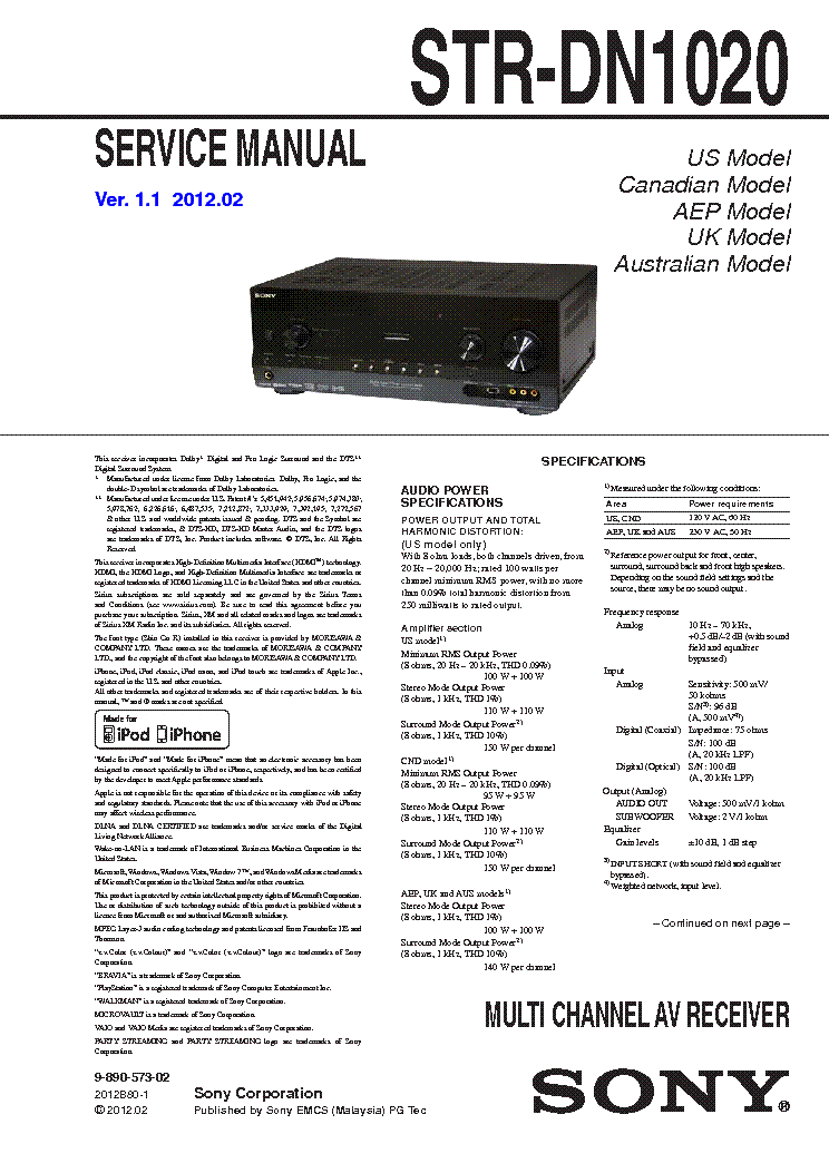 sony str dn1050 manual pdf