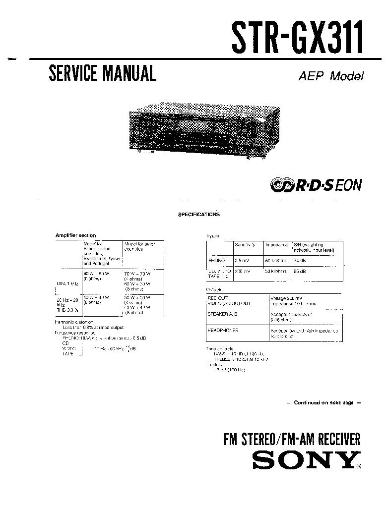 Sony Str Gx311 Service Manual Mp3 Fx Nu Abo Car Audio Strde135 De135