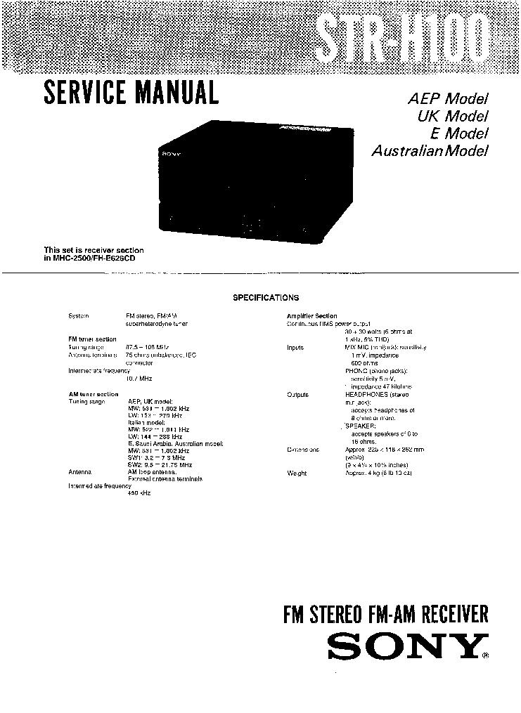 Sony Str H100 Service Manual Download Schematics Eeprom