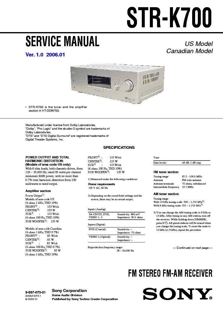 sony str k700 service manual download schematics eeprom repair rh elektrotanya com sony str-k700 remote code sony str k700 remote control
