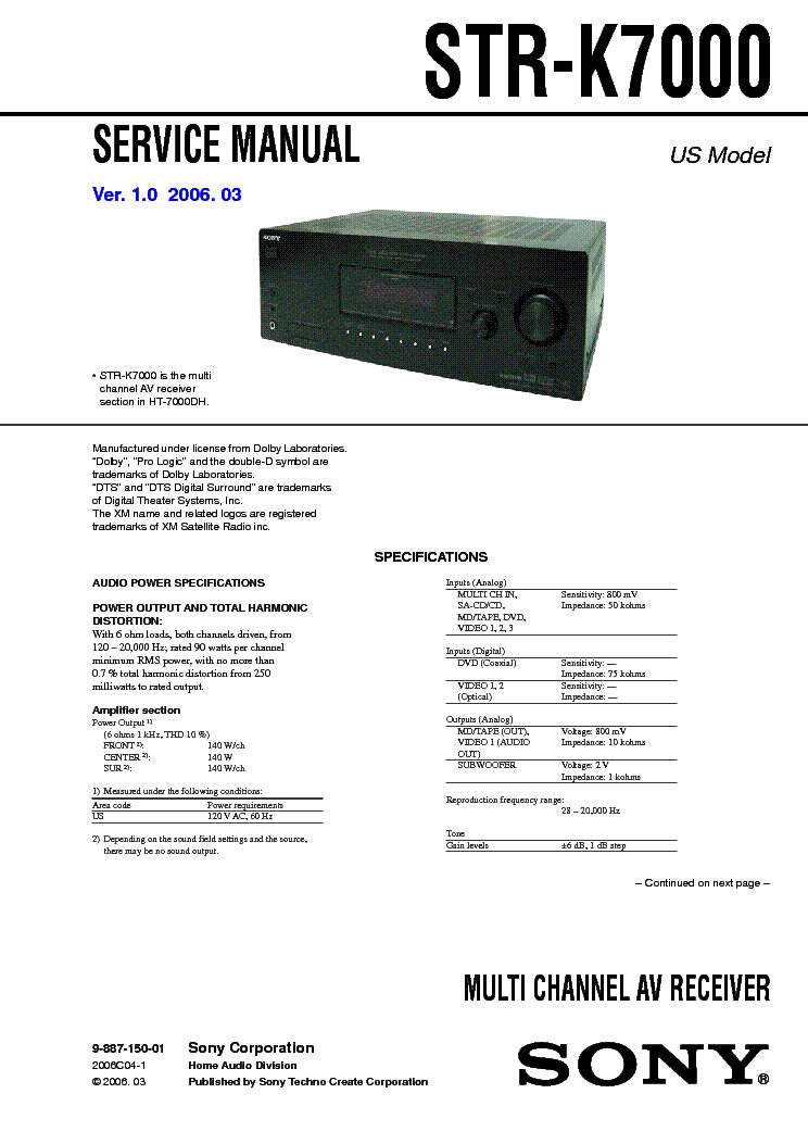 sony str k7000 ver1 0 service manual download schematics eeprom rh elektrotanya com sony str k700 receiver manual sony str k700 specs