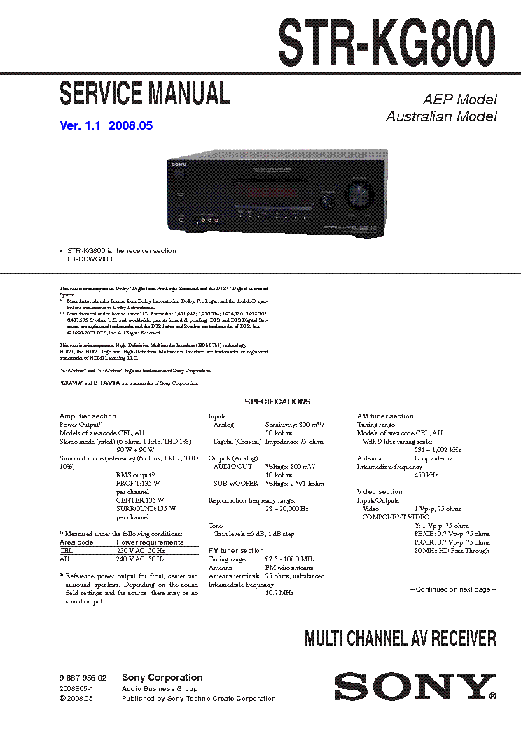 SONY STR-KG800 VER1.1 service manual