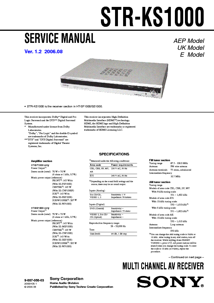 Sony Ta-Da9000es Manual