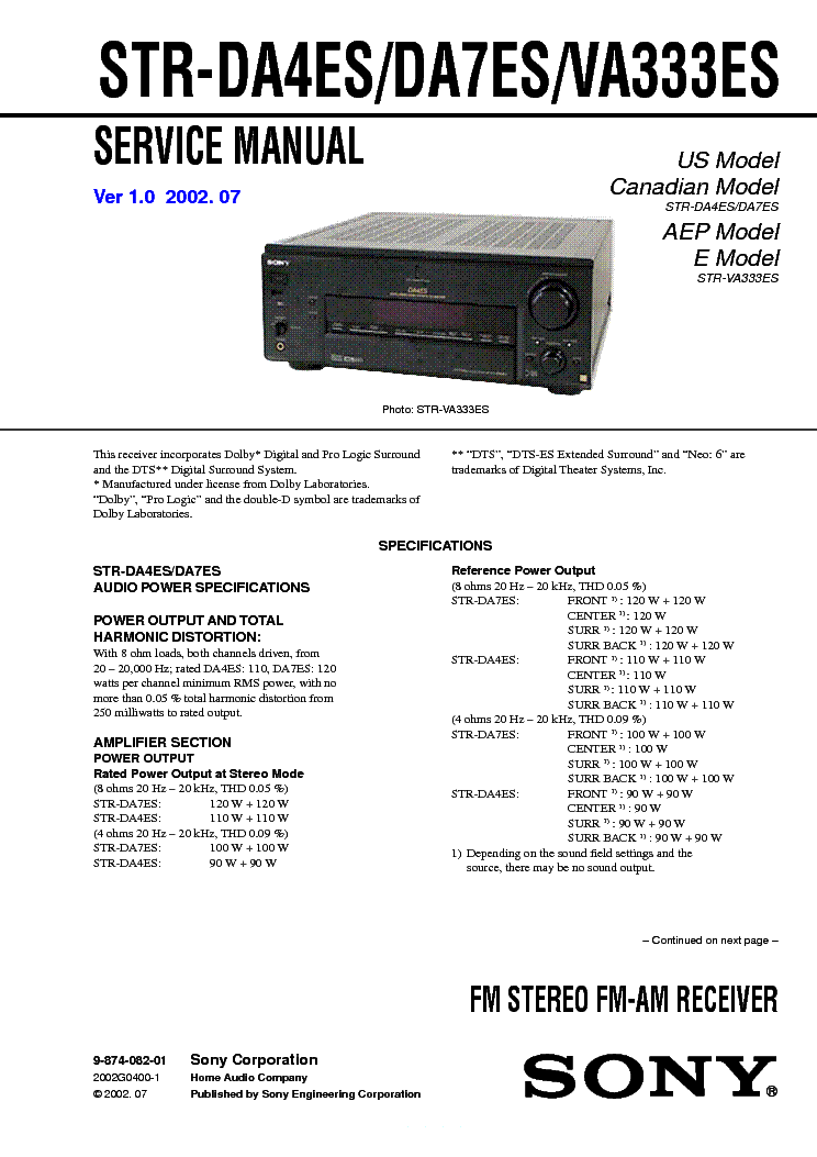 SONY STRDA7ES service manual