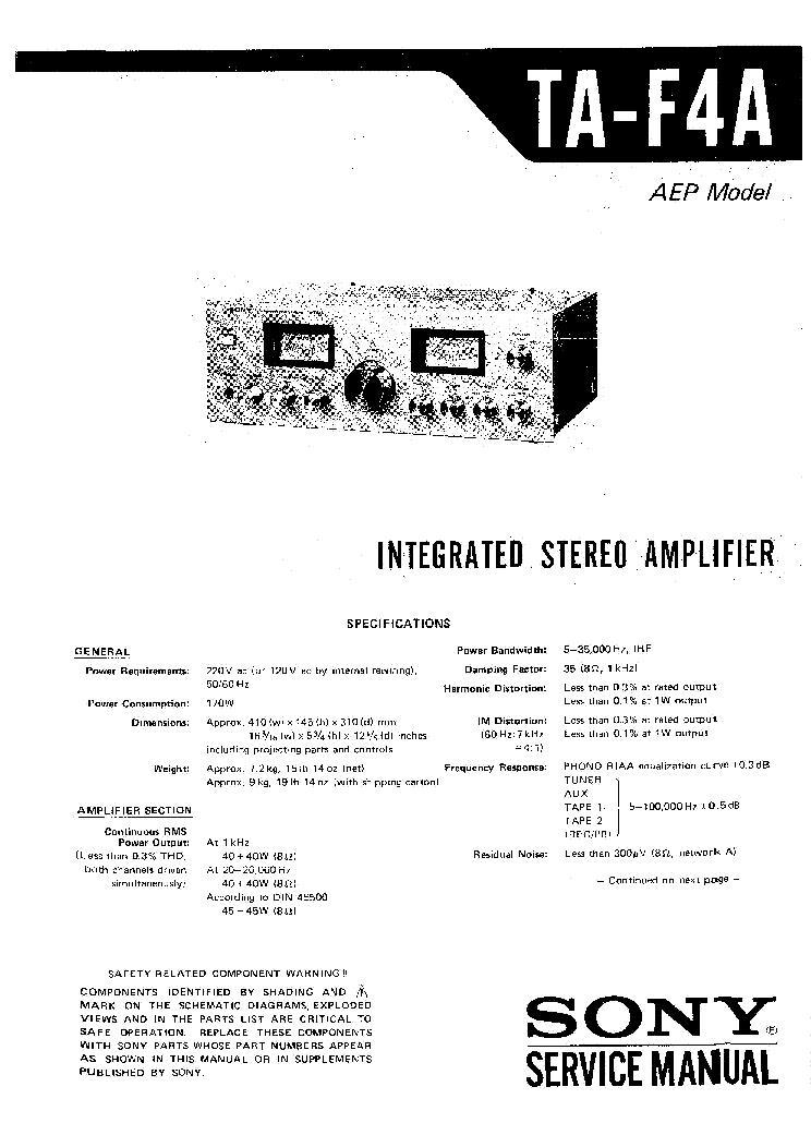 sony amp ta-f4a pdf