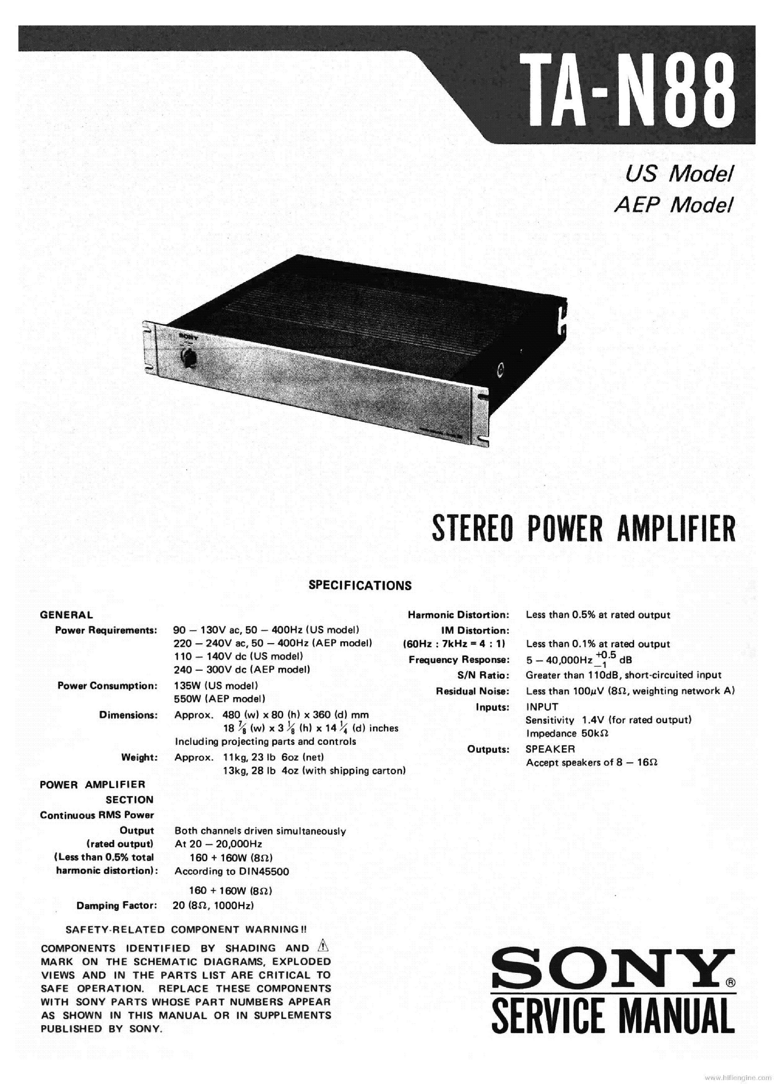 SONY TA-N88 PWRAMP service manual (1st page)