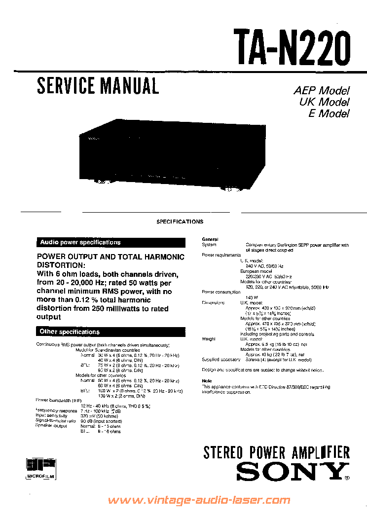 SONY TAN220 service manual (2nd page)