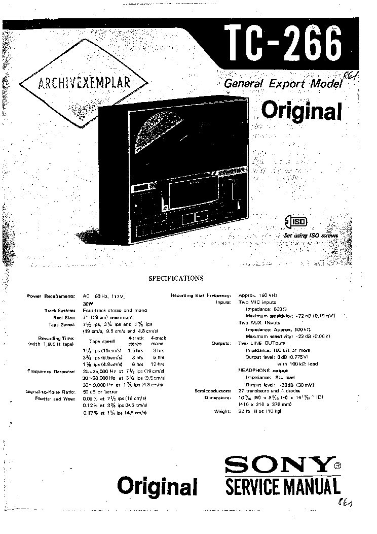 SONY TC-266 service manual