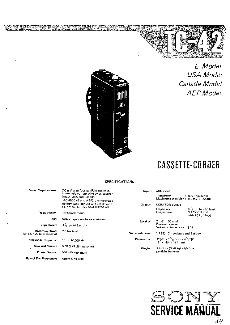 SONY TC-42 service manual