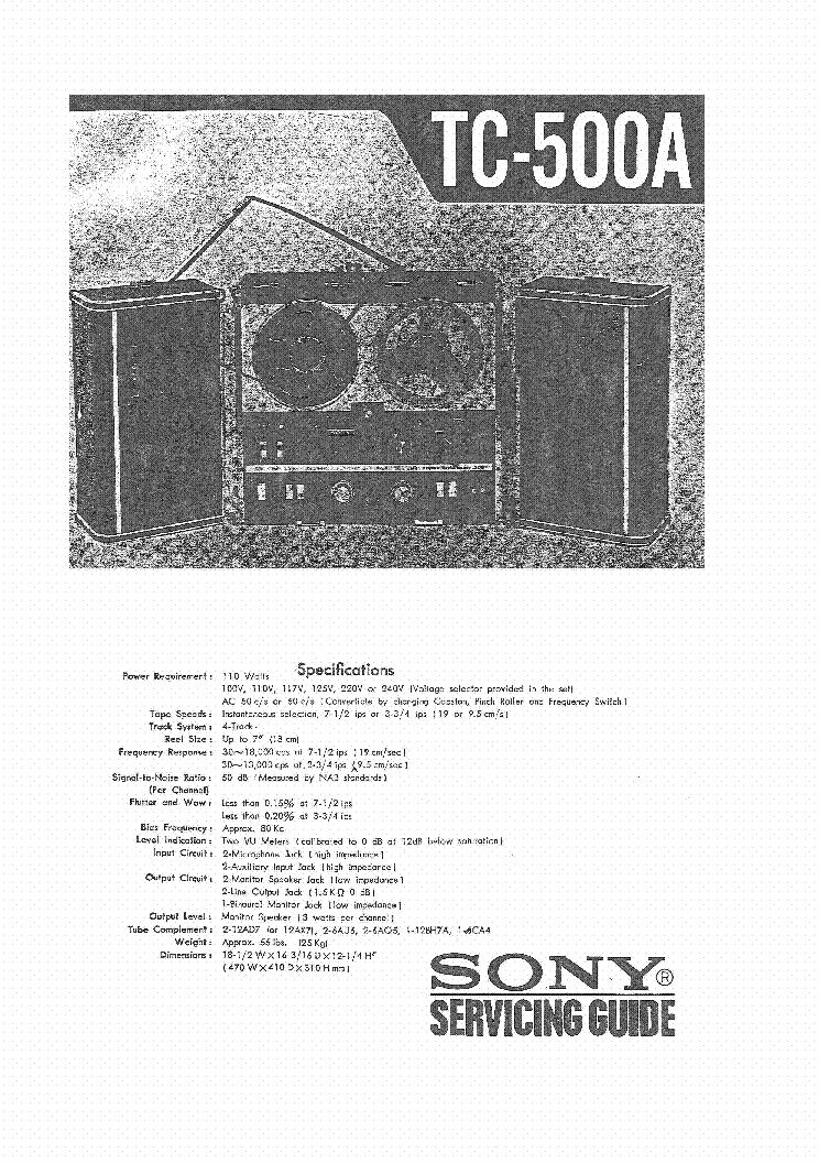 sony tc 500a service manual download schematics eeprom repair rh elektrotanya com Sony Cdx Ca650x Wiring Sony Xplod Wiring Harness Colors