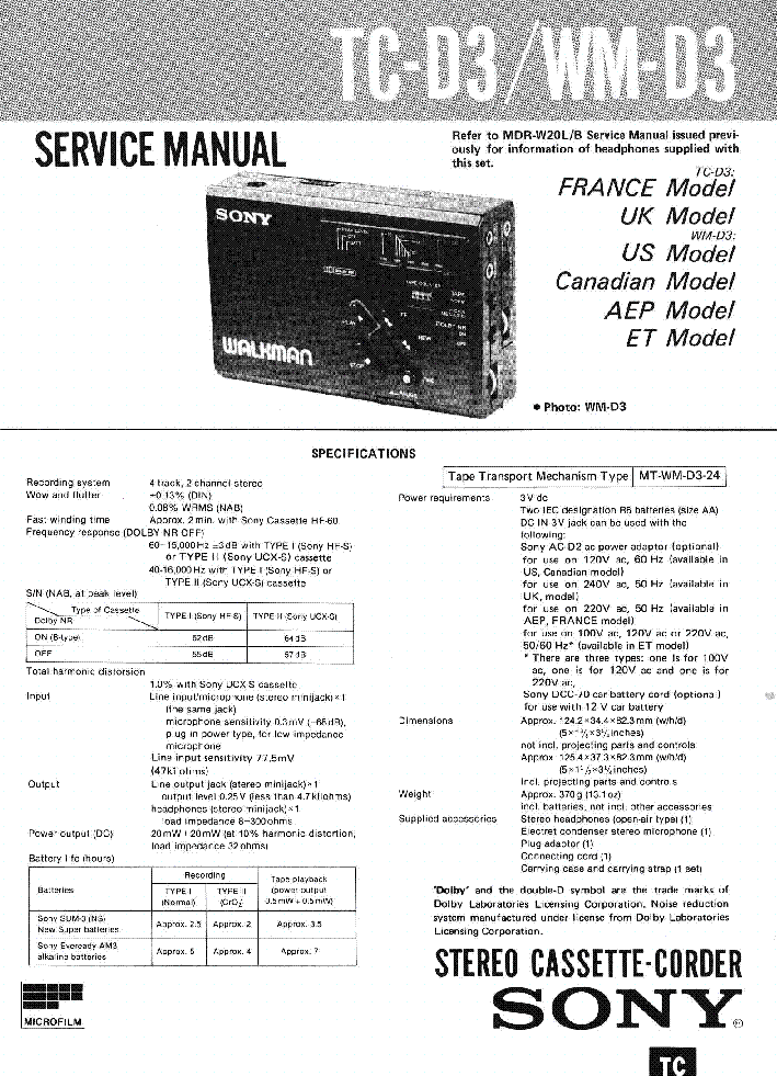 SONY TC-D3 WM-D3 service manual