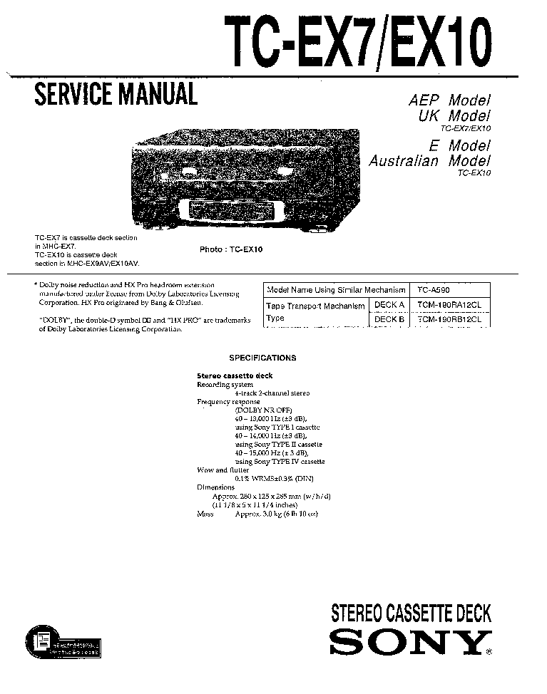 SONY TC-EX7 service manual (1st page)
