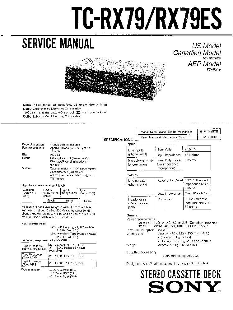 SONY TC-RX79 RX79ES service manual