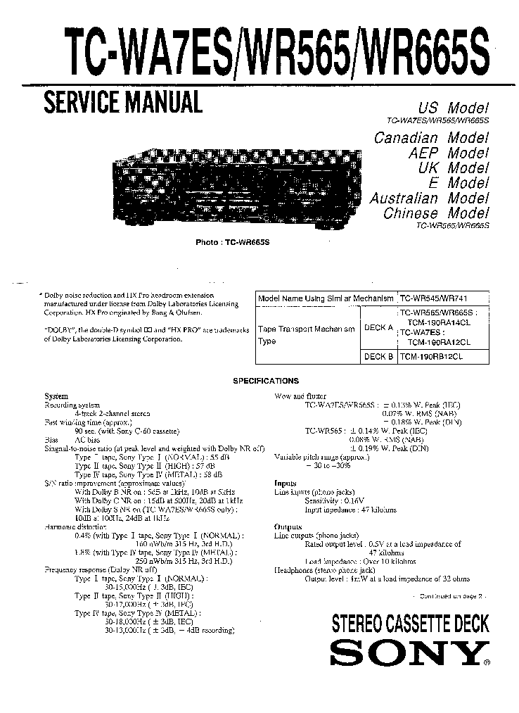 sony tc we435 service manual