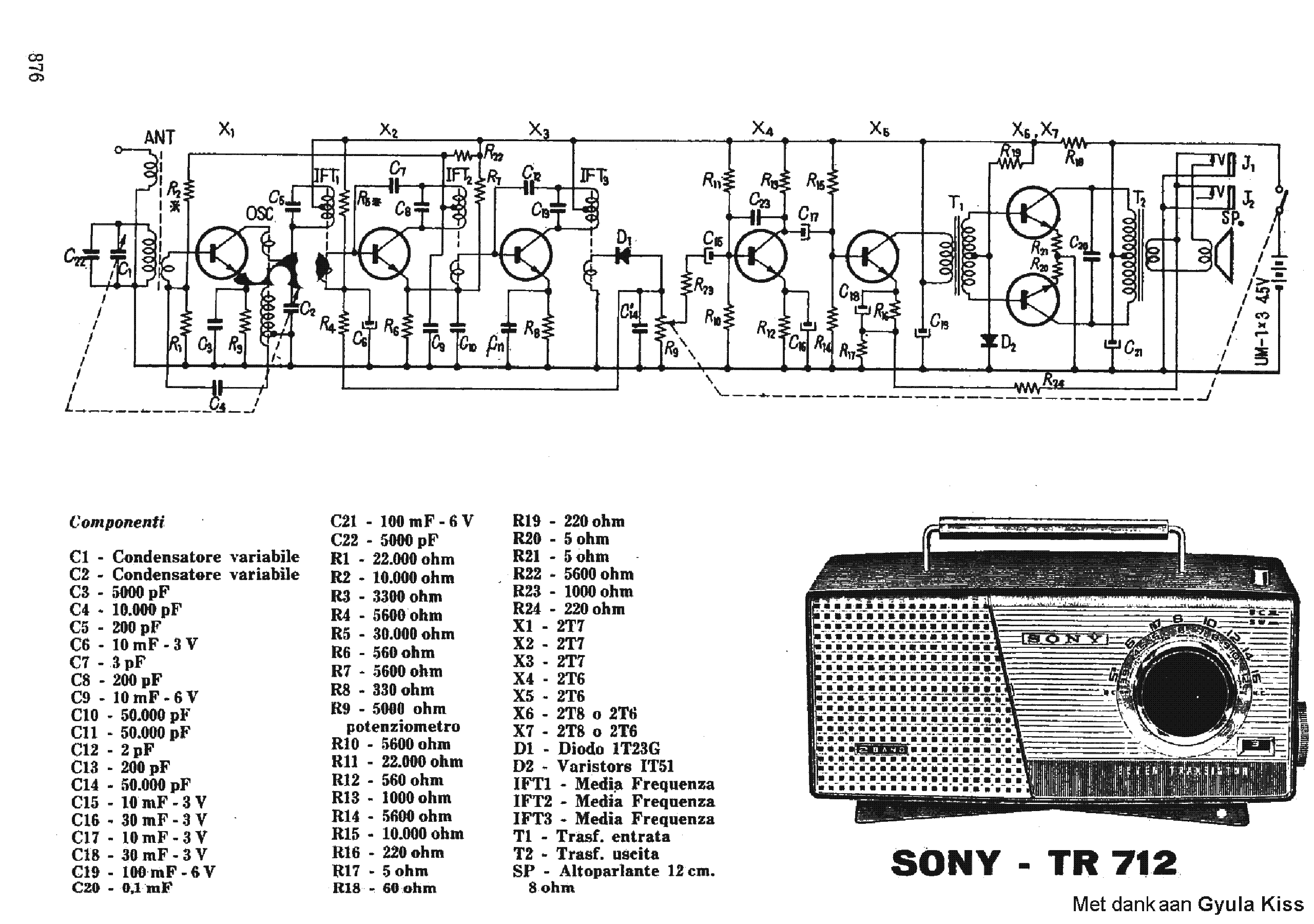 sony tr712 transistor portable radio sch service manual download rh elektrotanya com sony radio manual icf-sw7600gr sony radio manual icf-sw7600gr