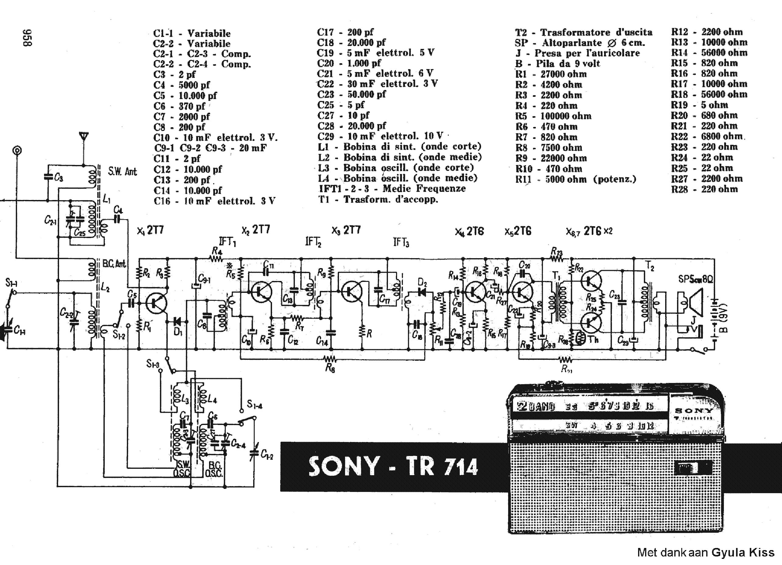Sony Tr714 Transistor Pocket Radio Sch Service Manual