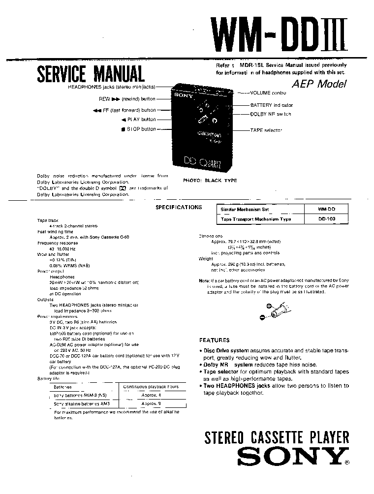 SONY WM-DD-3 SM service manual