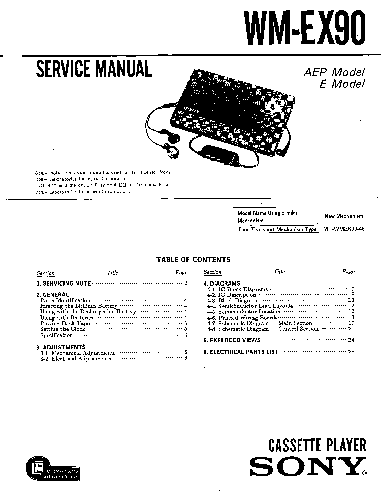 SONY WM-EX90 service manual