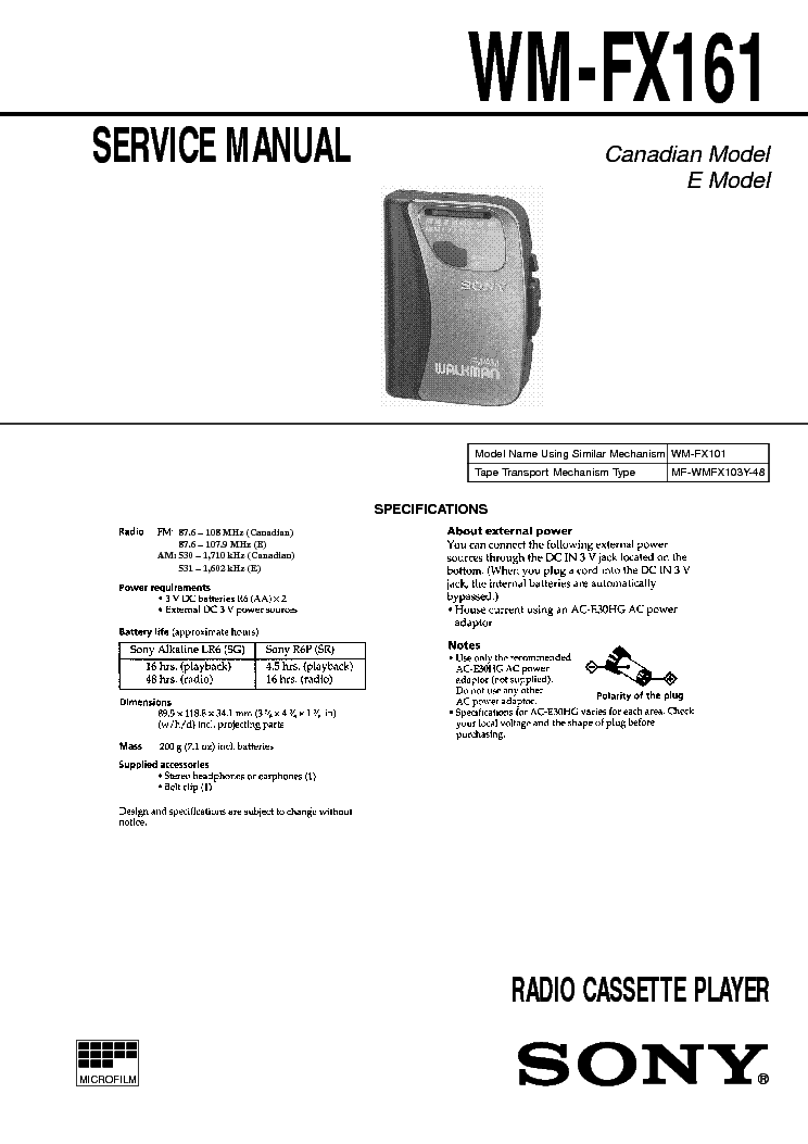 SONY WM-FX161 SM service manual