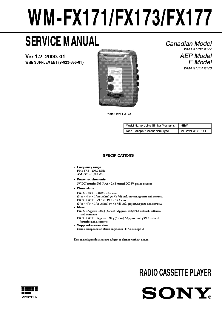 SONY WM-FX171,173,177 VER-1.2 SM service manual