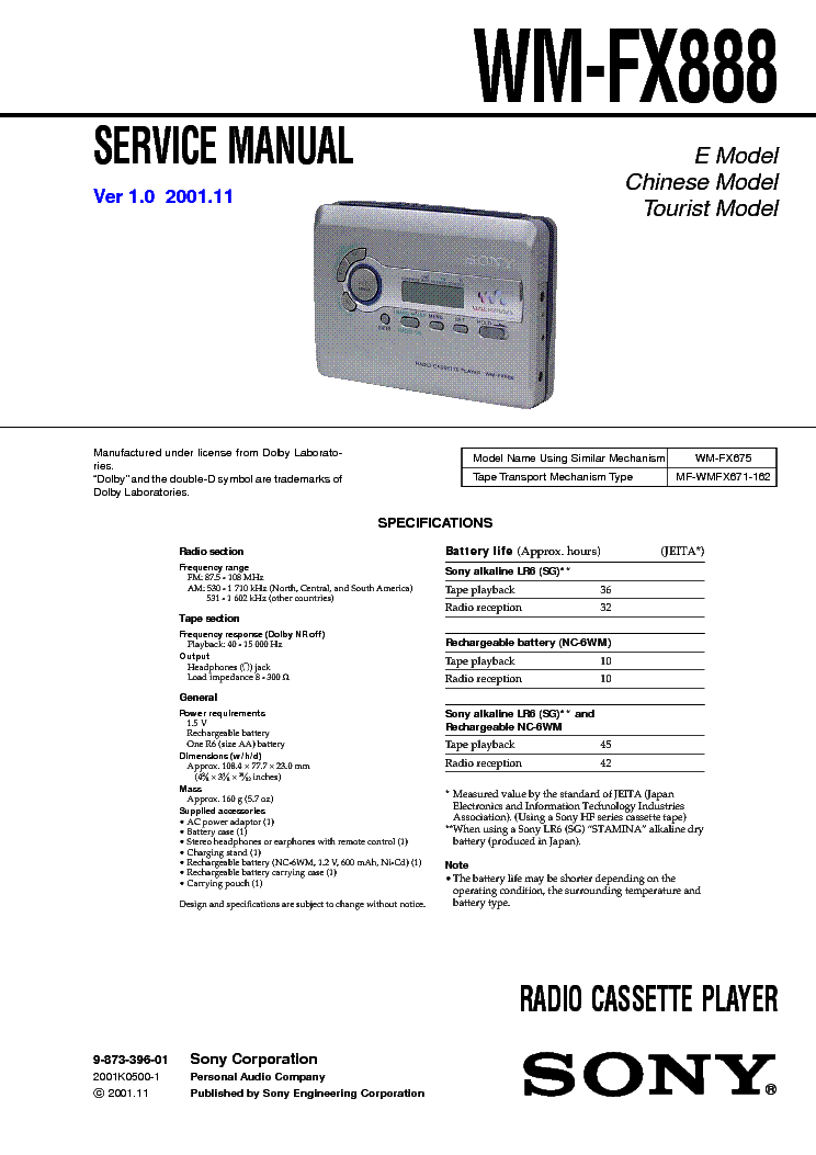 SONY WM-FX888 service manual