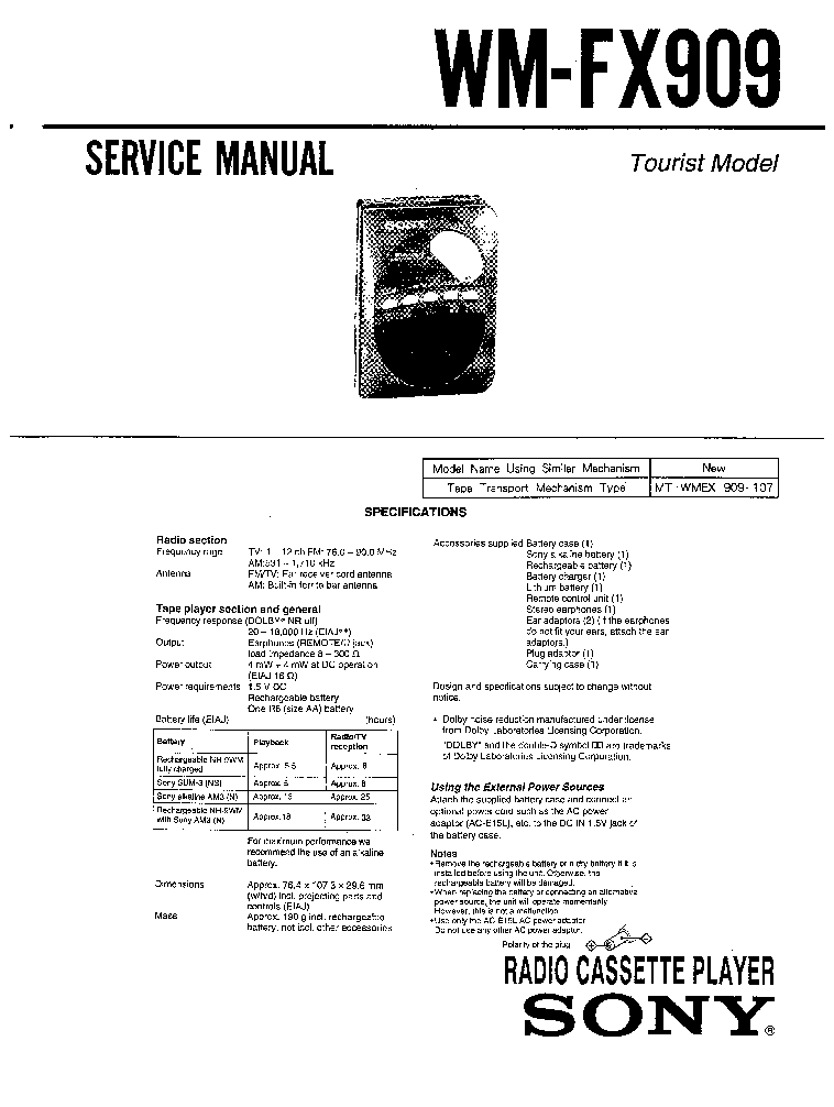 SONY WM-FX909 service manual