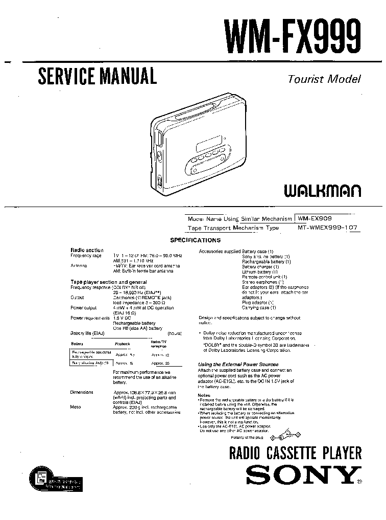 SONY WM-FX999 service manual