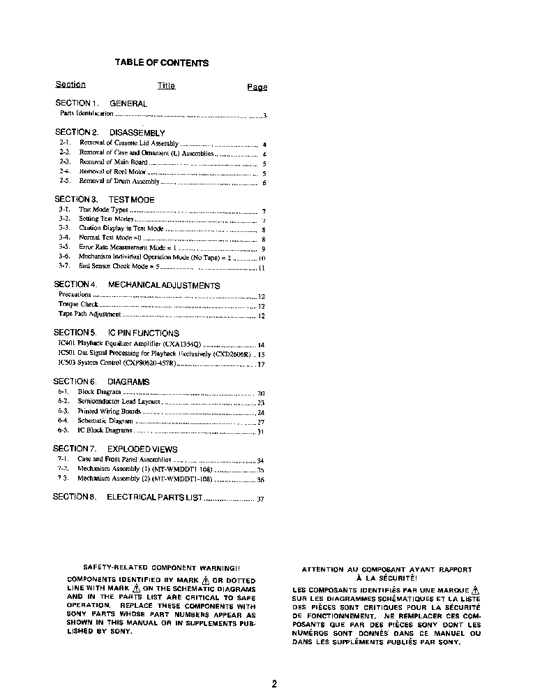 sony wmd-dt1 service manual (2nd page)