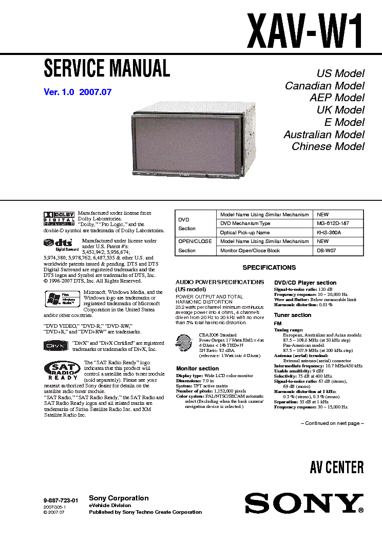 sony xav w1 service manual download schematics eeprom repair sony xav-w1  sc 1 st  MiFinder : sony cdx gt32w wiring diagram - yogabreezes.com