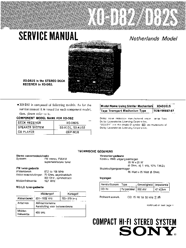 SONY XO-D82 D82S SM service manual