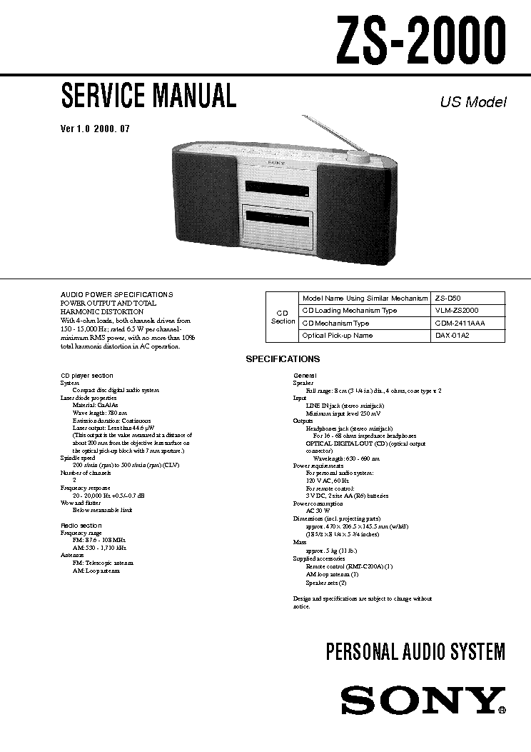 SONY ZS-2000 VER-1.0 service manual