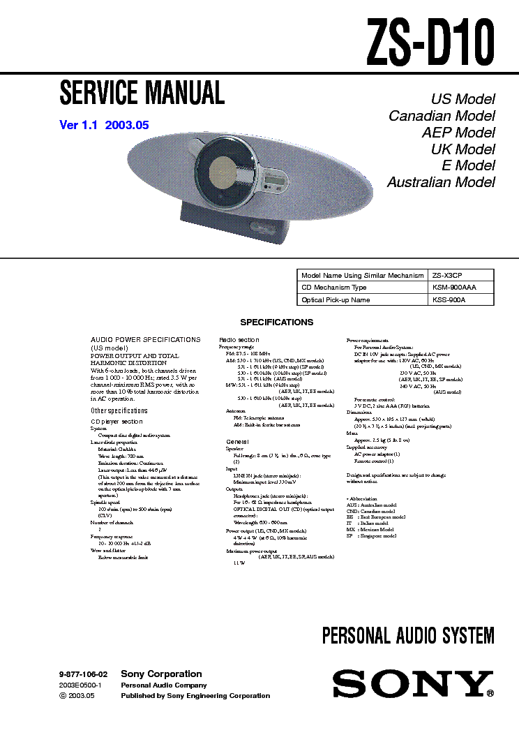 SONY ZS-D10 VER 1.1 service manual (1st page)