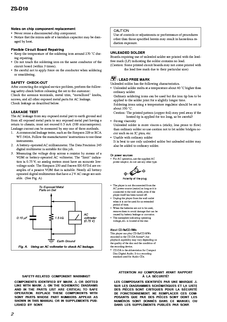 SONY ZS-D10 VER 1.1 service manual (2nd page)