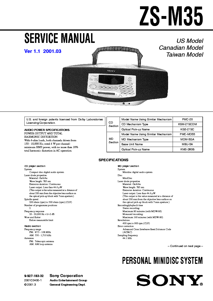 SONY ZS-M35 VER1.1 service manual