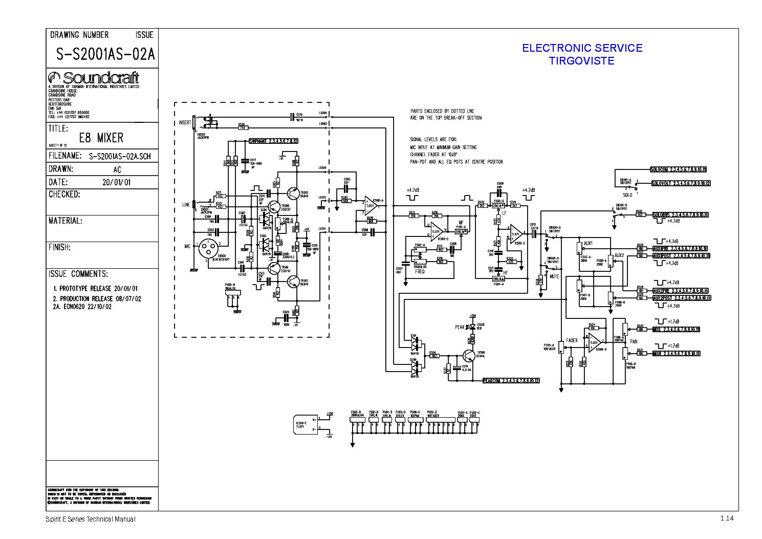 audio mixer schematic diagram