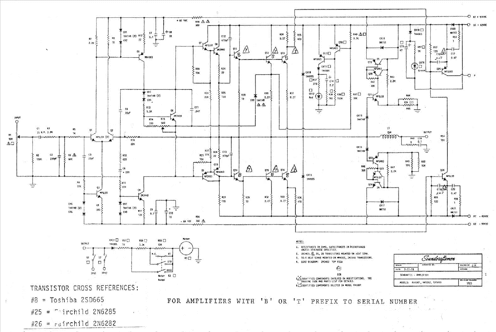 soundcraftsmen pa 5001 amplifier 1978 sch service manual download rh elektrotanya com Amplifier Schematic Symbol Tube Amplifier Schematic Diagrams