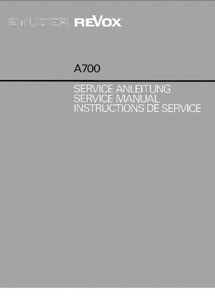 studer revox a700 sm 2 service manual download schematics eeprom rh elektrotanya com scubapro a700 service manual studer revox a700 service manual