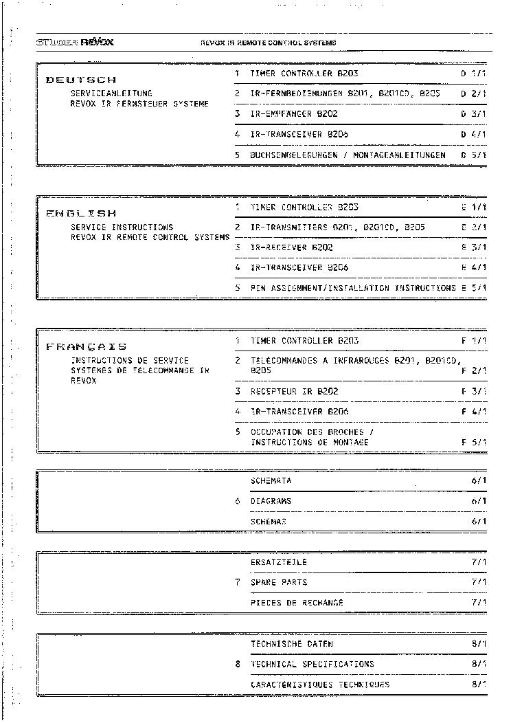 STUDER REVOX IR REMOTE CONTROL SYSTEMS 1985 SM Service Manual