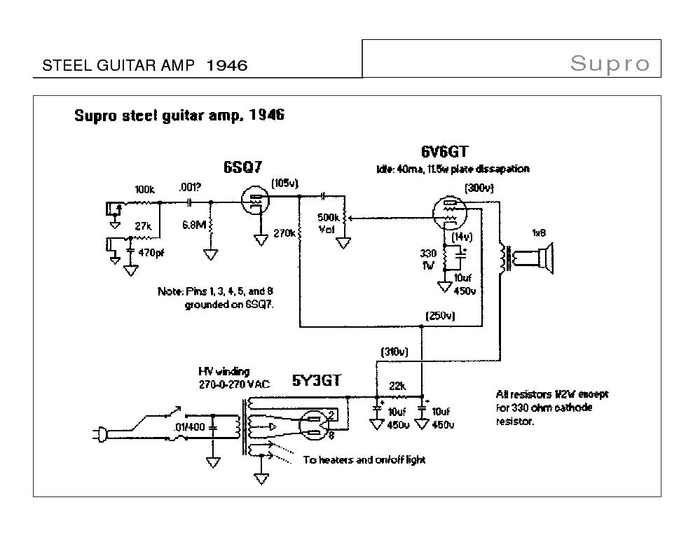 supro amp schematic wiring diagram source Supro Schematic