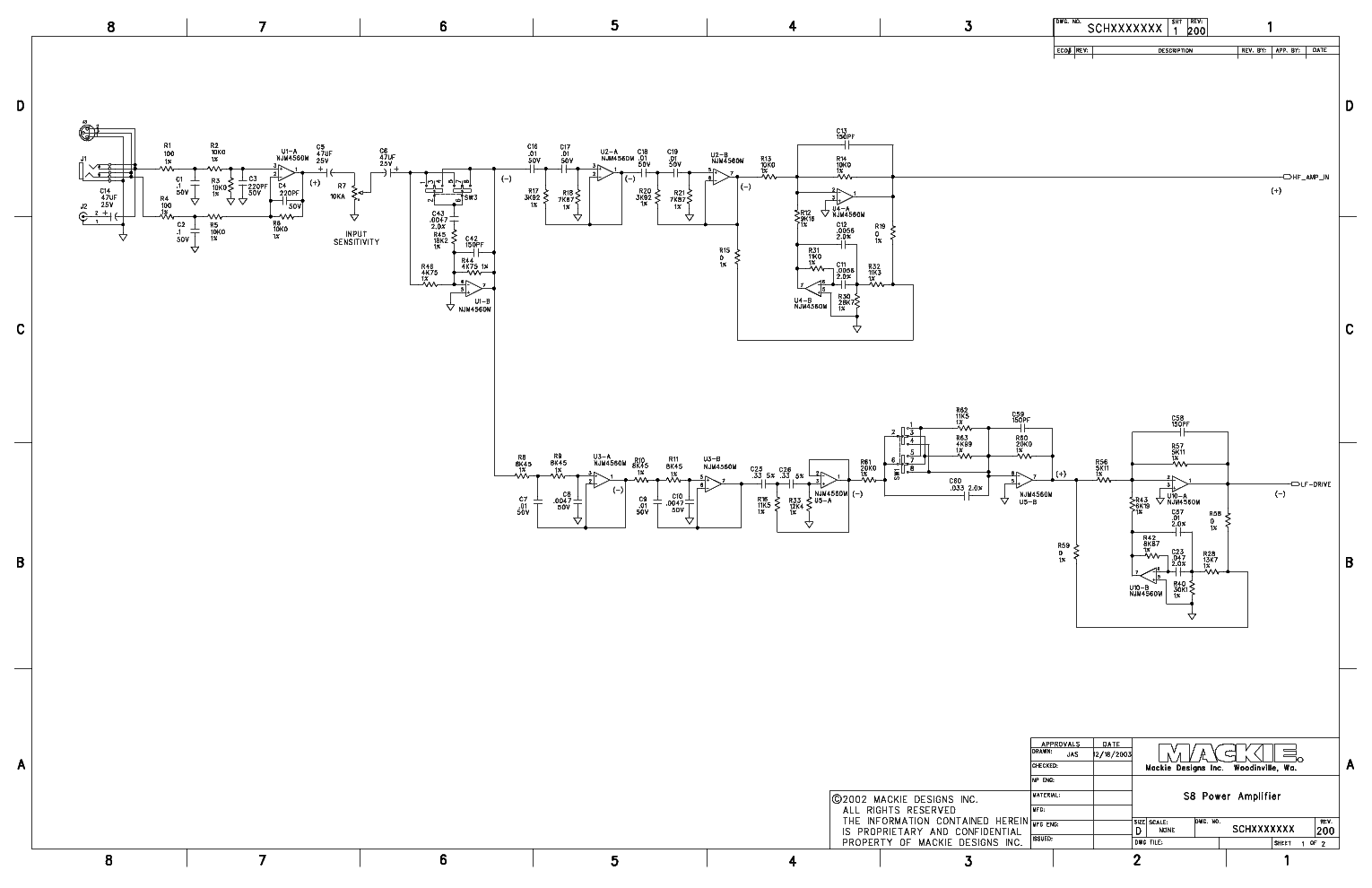 Tapco S8 Power Amplifier Schematics Service Manual Download 1st Page