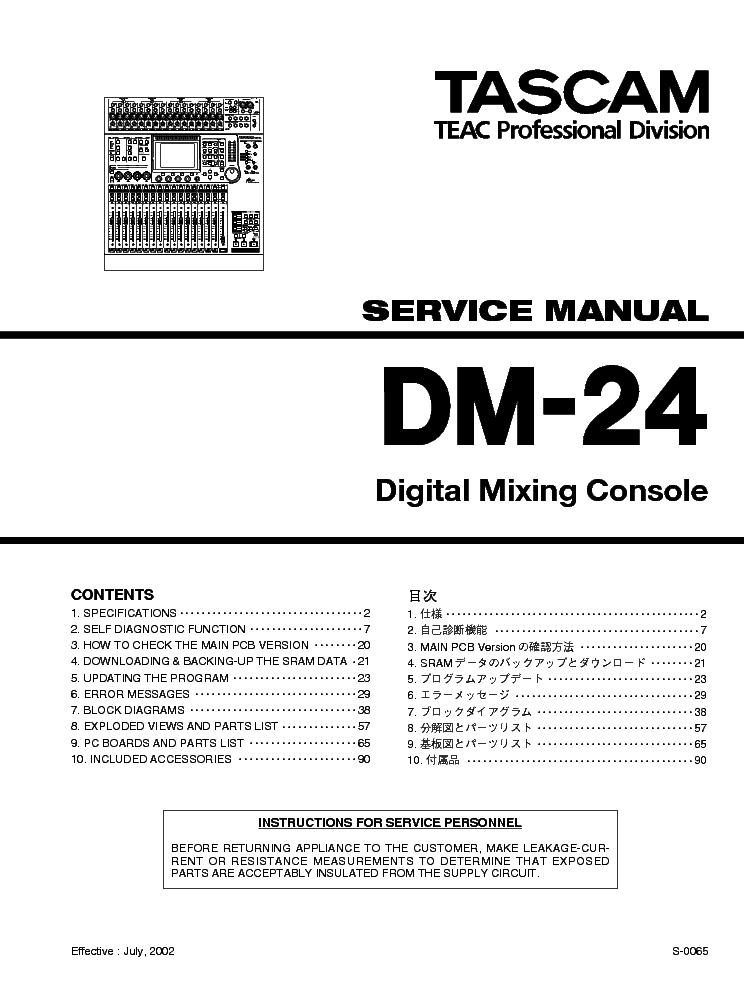 TASCAM TEAC DM-24 SM Service Manual download, schematics