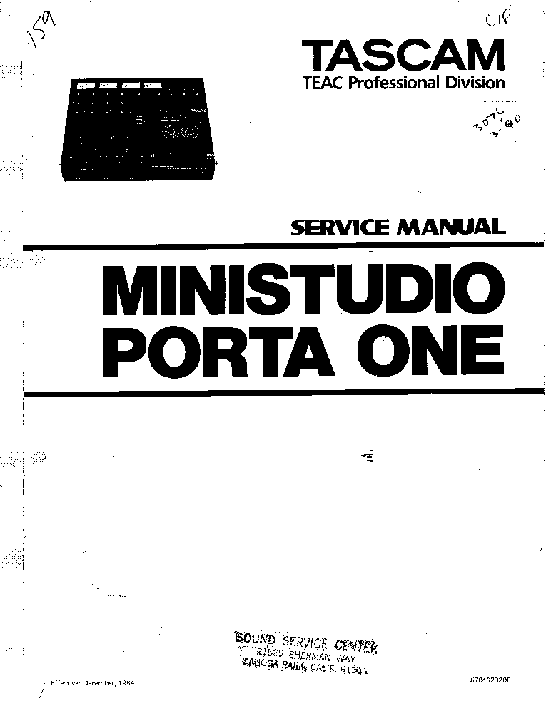 TASCAM TEAC PORTA-ONE SM Service Manual download, schematics, eeprom