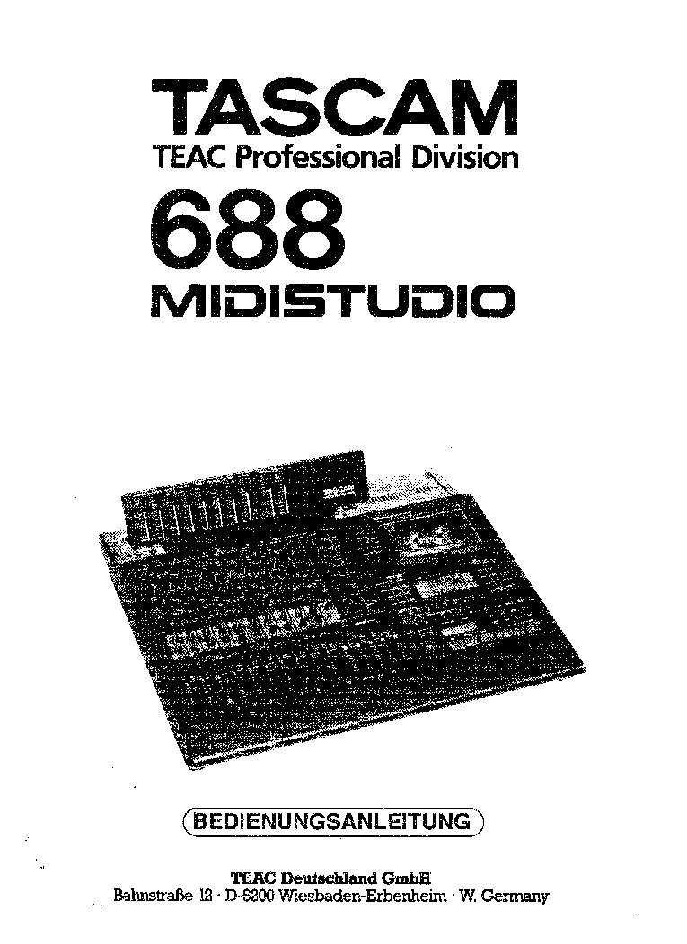 TASCAM TEAC PROFESSIONAL DIVISION 688 MIDISTUDIO Service