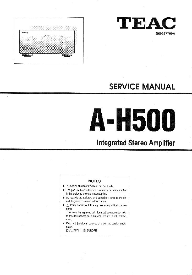 Teac a-h500i sm service manual download, schematics, eeprom.