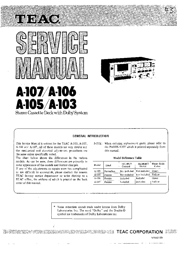 TEAC A103 A105 A106 A107 service manual (1st page)