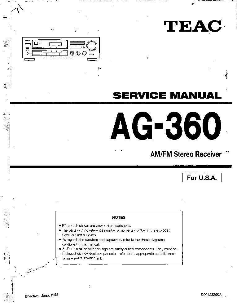 TEAC AG-360 SERVICE Service Manual download, schematics