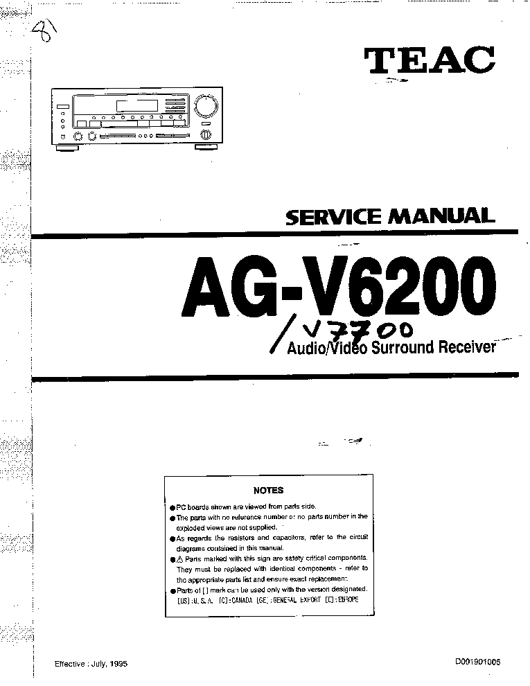Teac Ag V6200 manual