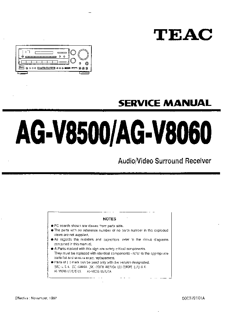 TEAC AGV8060 AGV8500 Service Manual download, schematics