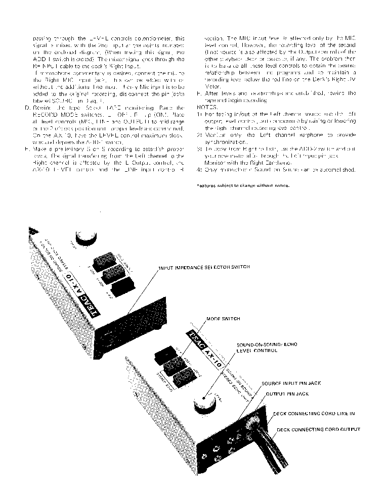 TEAC AX-10 SOUND-ON-SOUND-4 STEREO ECHO-UNIT SM Service