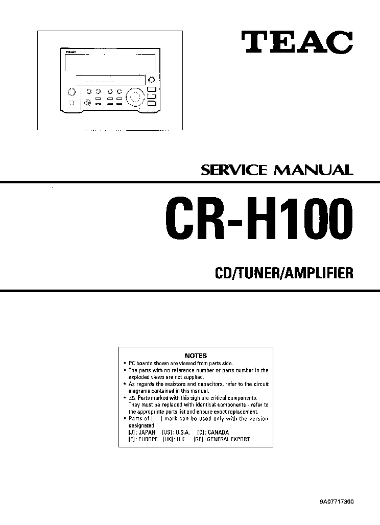 TEAC CR-H100 SM service manual (1st page)